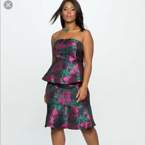 Eloquii Strapless Double Peplum Floral Dress 20W